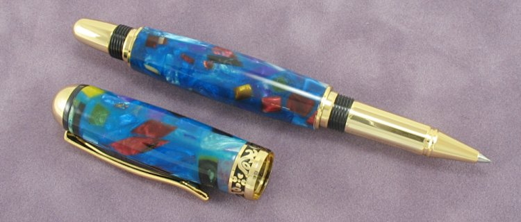 "#1191 - Acrylic ""Stained Glass"" Wood Rollerball Pen - Click Image to Close"