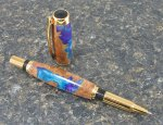 "#1136 - ""Cancun"" Acrylic & Burl Wood Rollerball Pen"